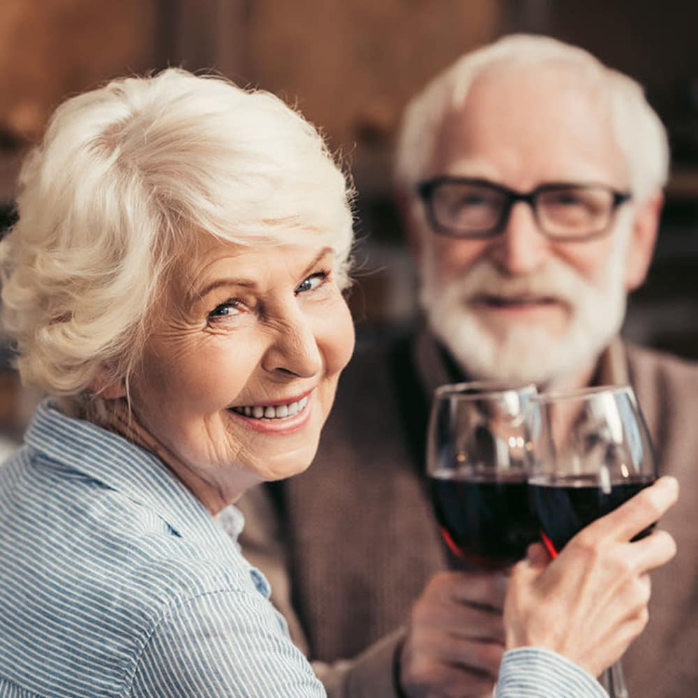 Seniors drinking wine at The Bellettini in Bellevue, Washington