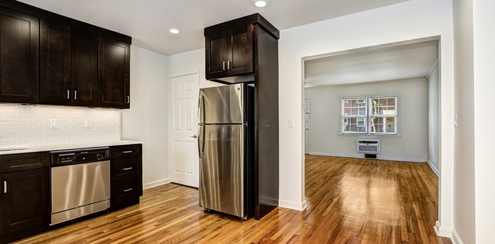 Kitchen with stainless-steel appliances at General Wayne Townhomes and Ridgedale Gardens in Madison, New Jersey