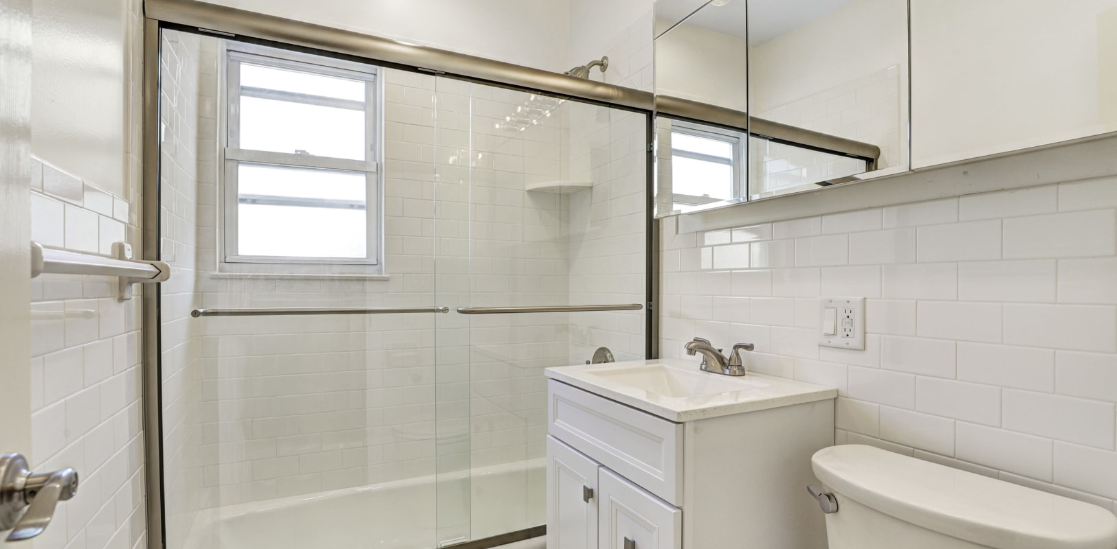 Spacious bathroom with an oval tub at General Wayne Townhomes and Ridgedale Gardens in Madison, New Jersey
