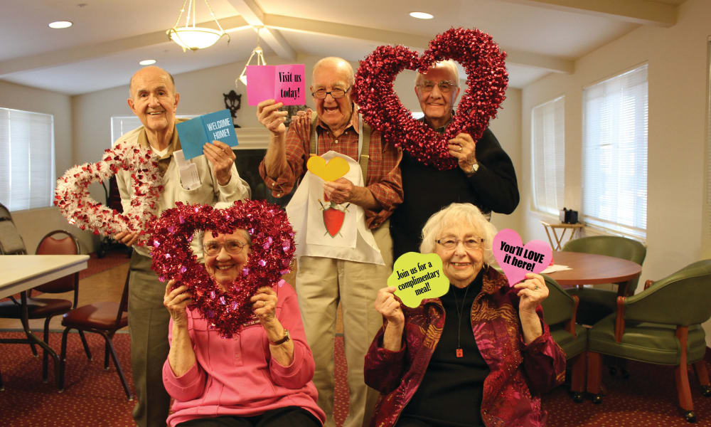 Seniors on Valentine's Day at Camden Springs Gracious Retirement Living in Elk Grove, California