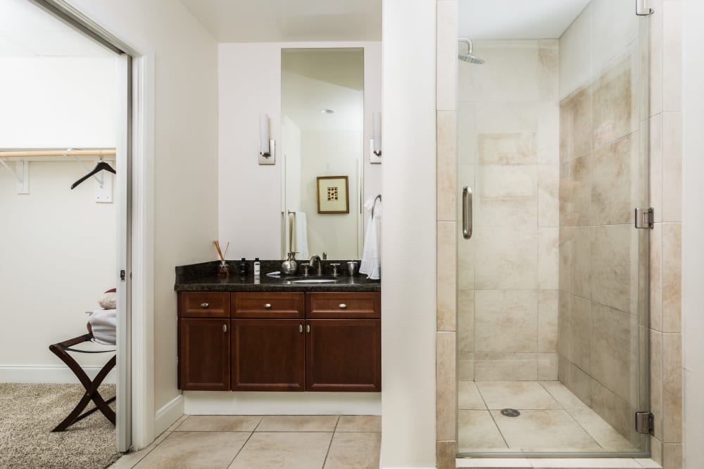 Bathroom next to the walk-in closet at The Heights at Park Lane in Dallas, Texas