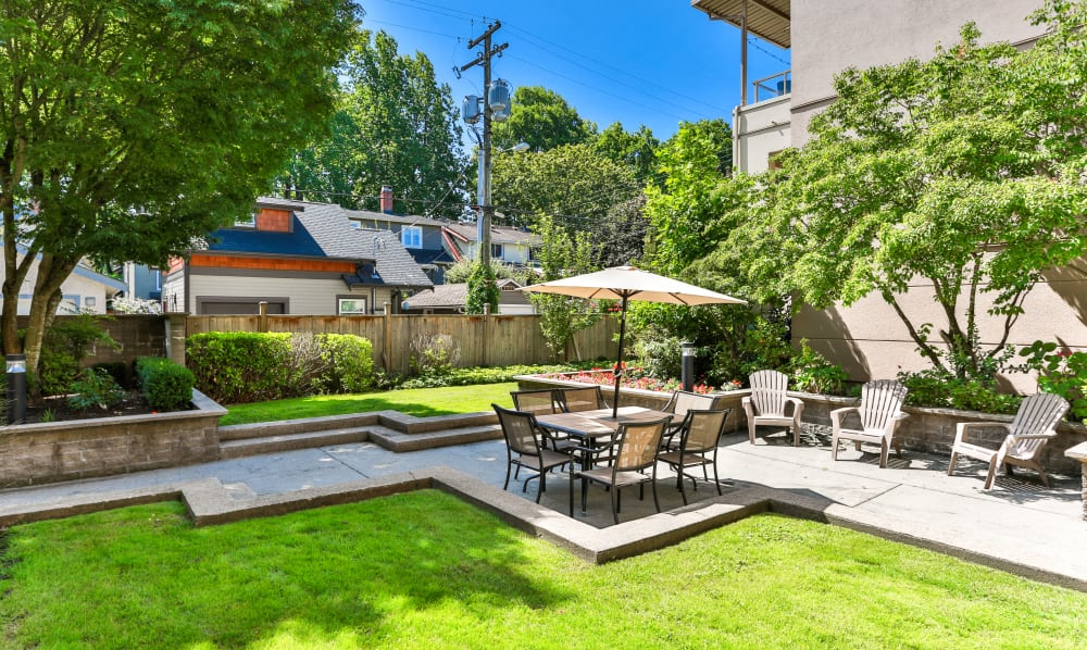 Covered outdoor tables at Dunway Court in Vancouver