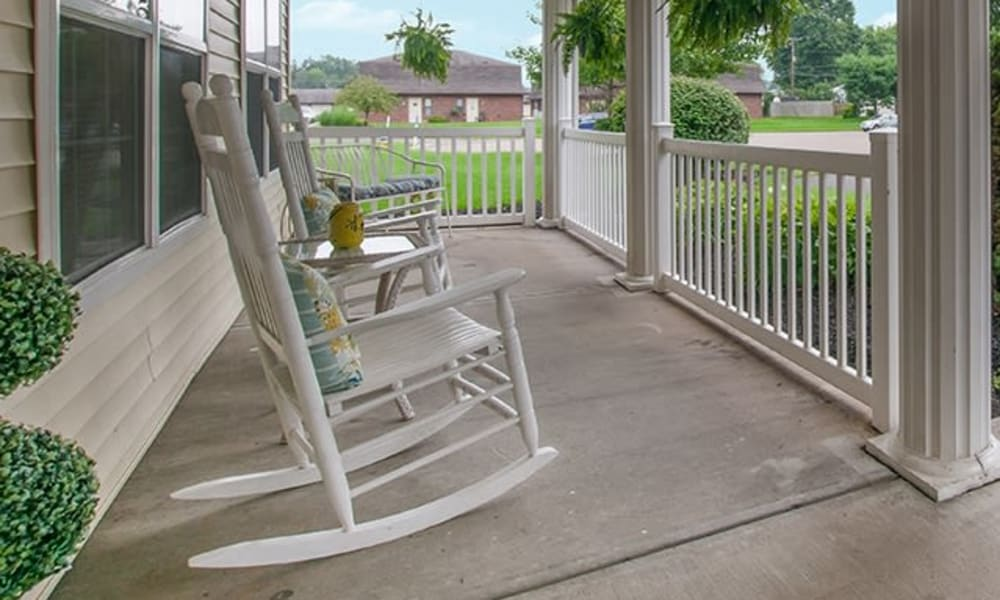Outdoor rocking chairs at Randall Residence of Newark in Newark, Ohio