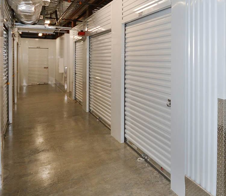 Well-lit indoor units at Space Shop Self Storage in Atlanta