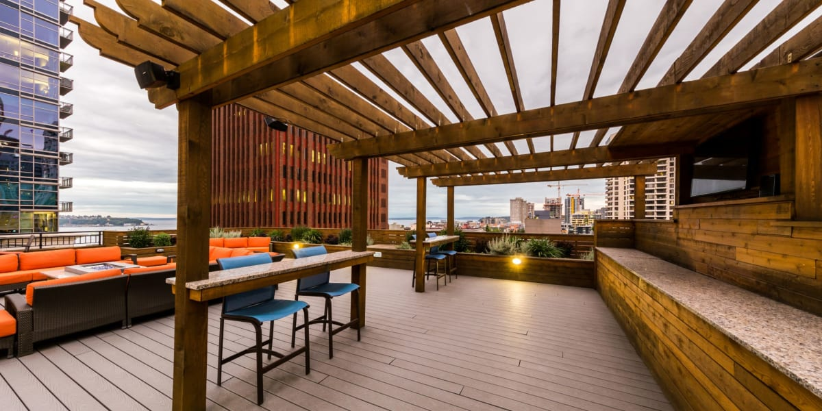 Rooftop lounge with city views at Marq 211 in Seattle, Washington