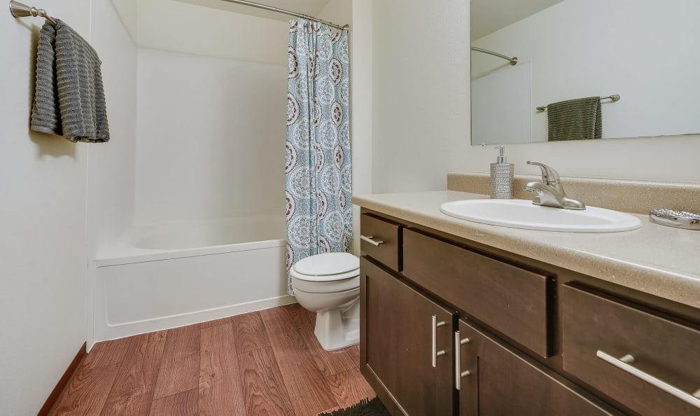 Bathroom with tub at Renaissance at 29th Apartments