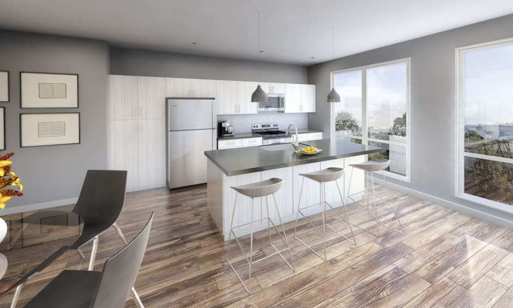 Modern kitchen at 50 Front Luxury Apartments in Binghamton, New York