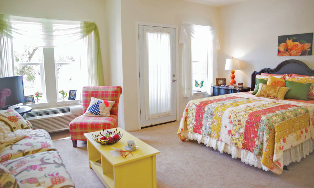 Studio apartment floor plan at Cedarview Gracious Retirement Living in Woodstock, Ontario