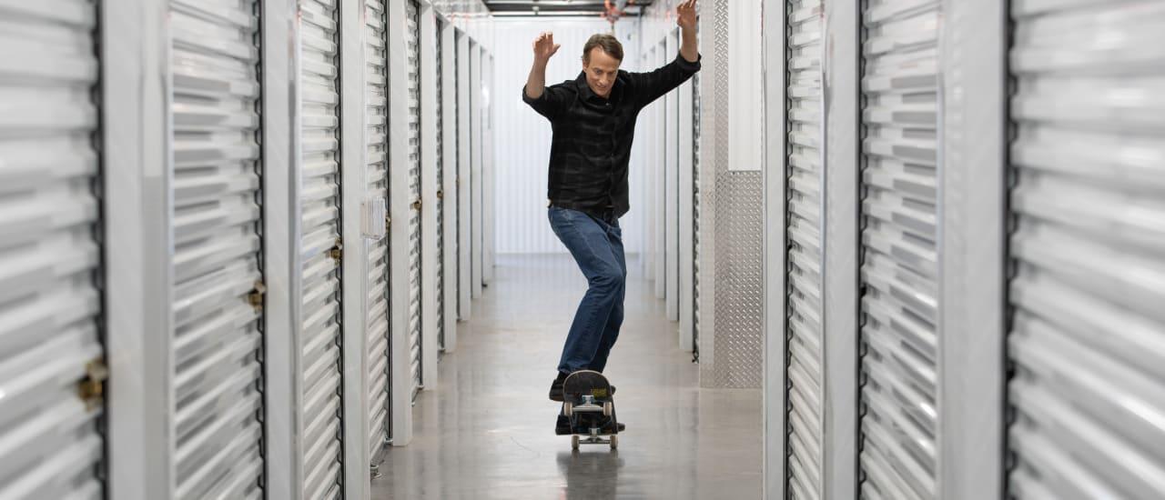 Tony riding the halls of StorQuest Self Storage