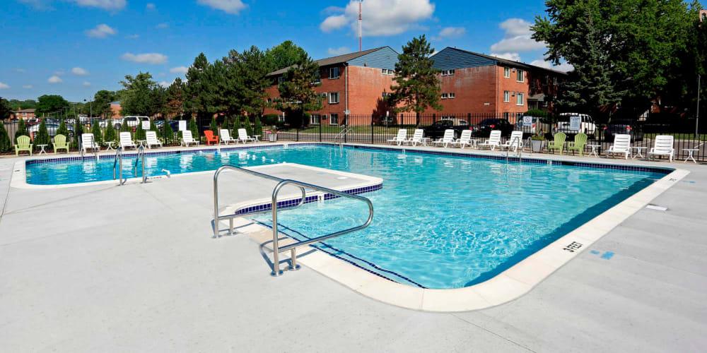 Beautiful pool at The Loop on Greenfield in Oak Park, Michigan