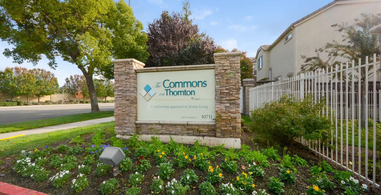 Welcome sign at The Commons on Thornton in Stockton, California