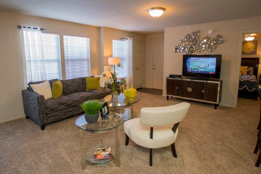 Living room with carpet at Villas at Canyon Ranch in Yukon, Oklahoma