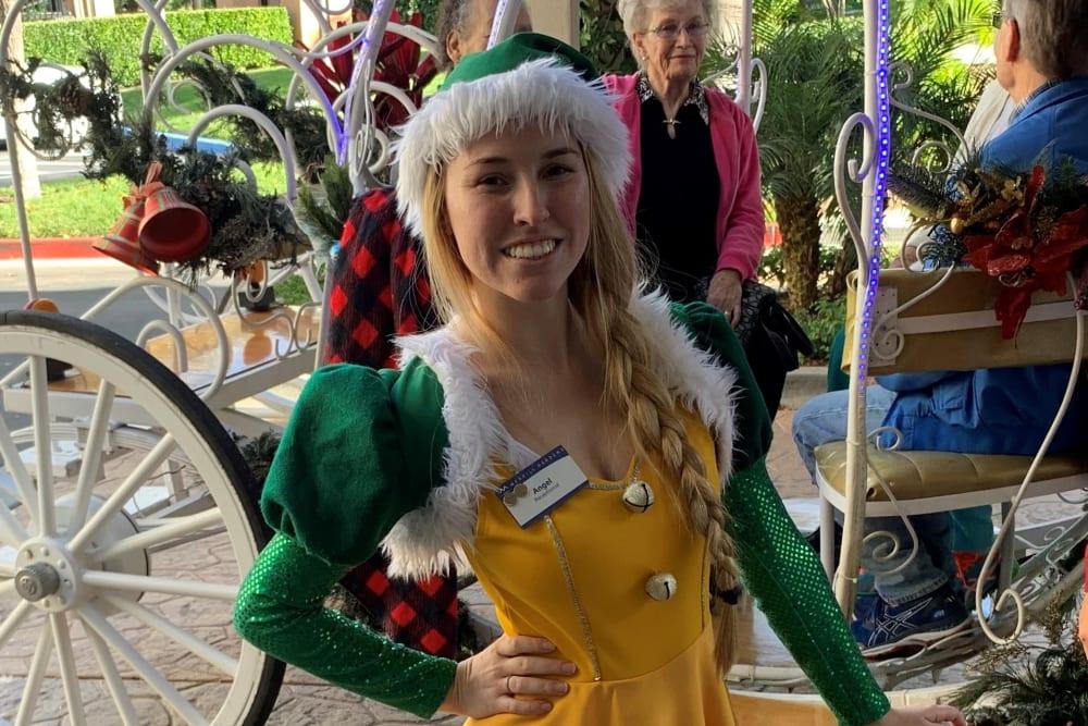 A staff member dressed up at Merrill Gardens at Oceanside in Oceanside, California.