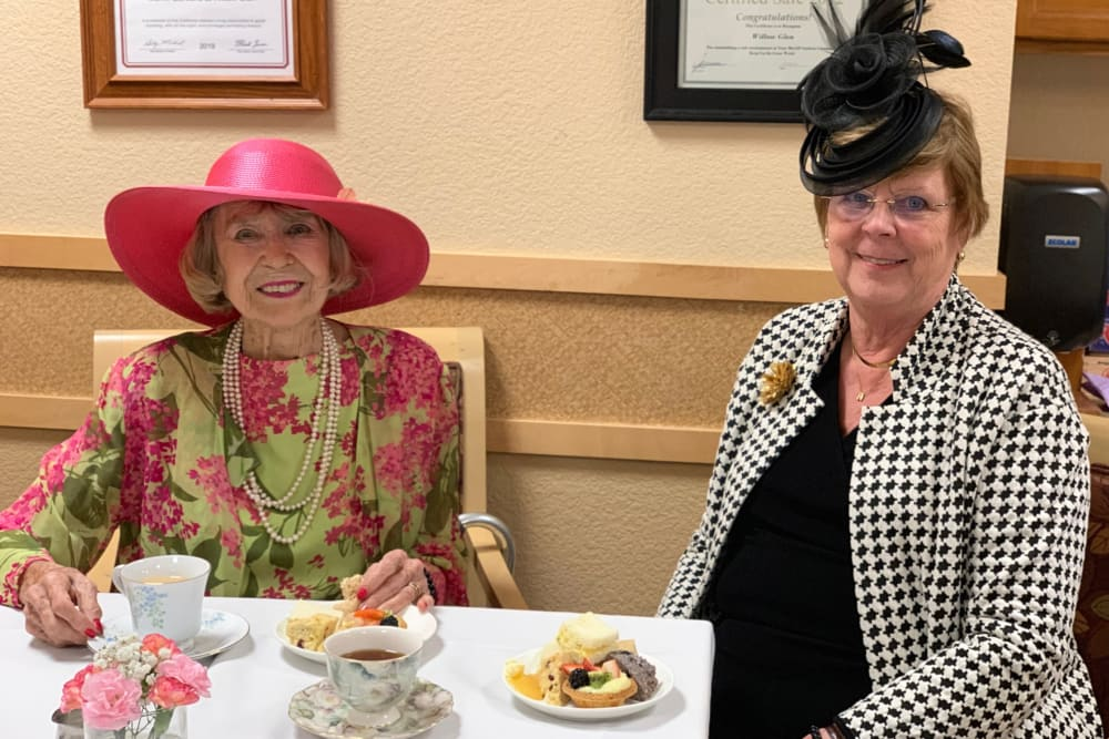 Two residents enjoying a snack at Merrill Gardens at Willow Glen in San Jose, California.