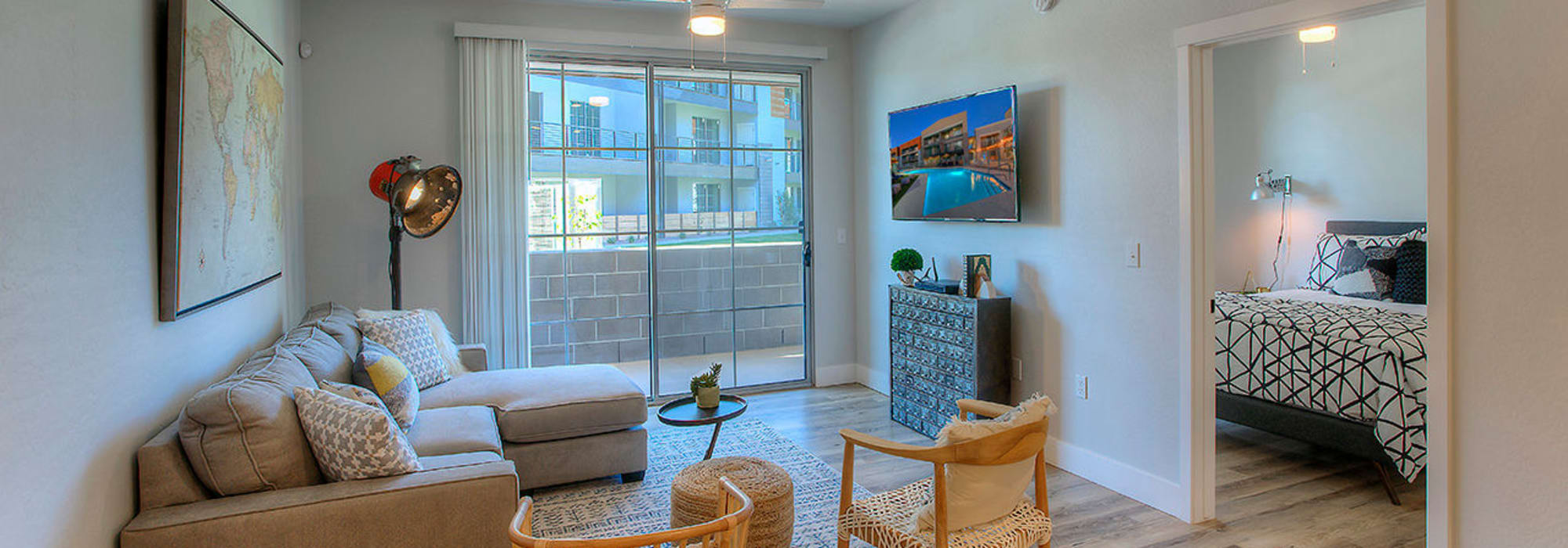 Open-concept living area in model home at District Lofts in Gilbert, Arizona