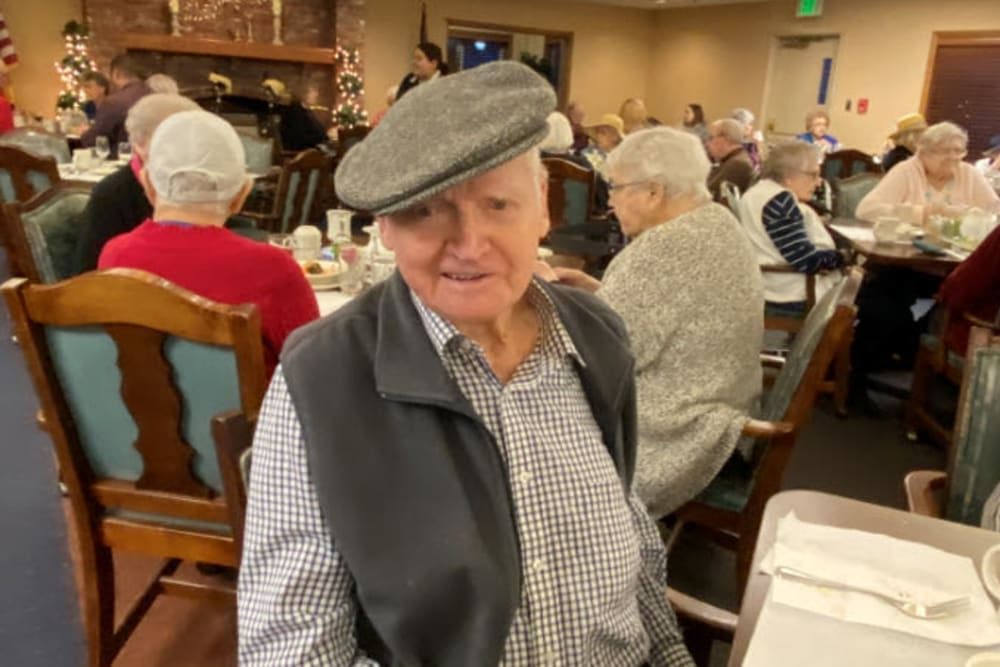 Resident in dining room at The Springs at Lancaster Village in Salem, Oregon