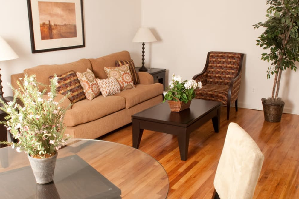 Living room model at King Alfred Apartments in Passaic, New Jersey