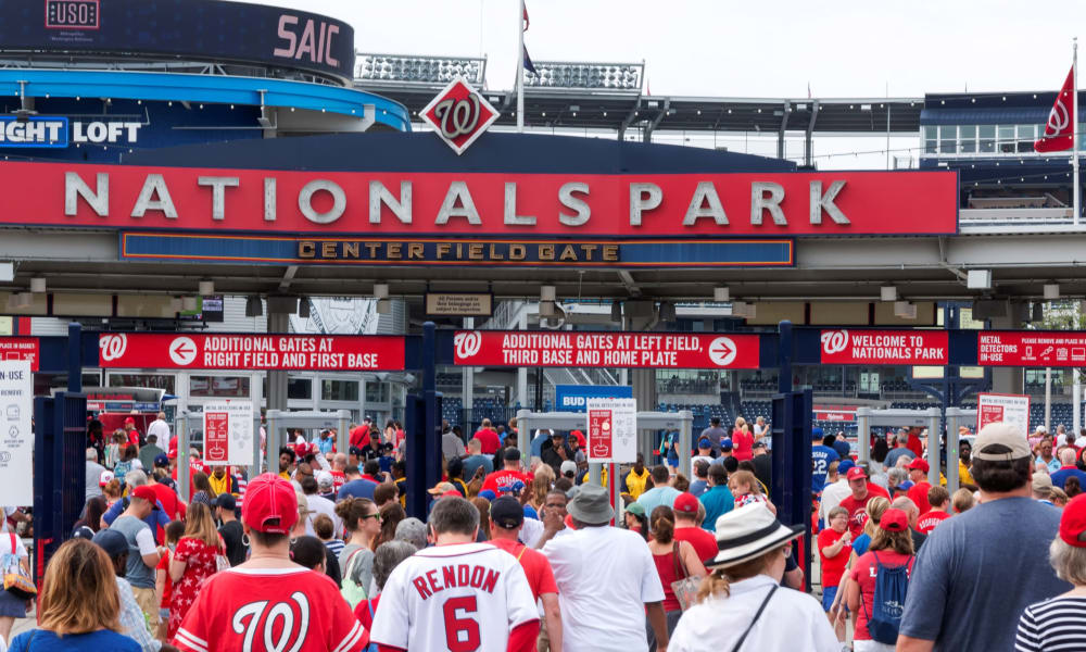 A lot of people at Nationals Park in Washington, District of Columbia near Howard Hill