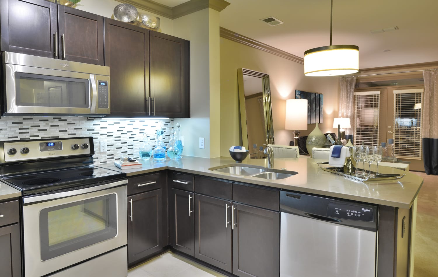 Beautifully designed kitchen with dark wood cabinets and stainless-steel appliances at Emory Point