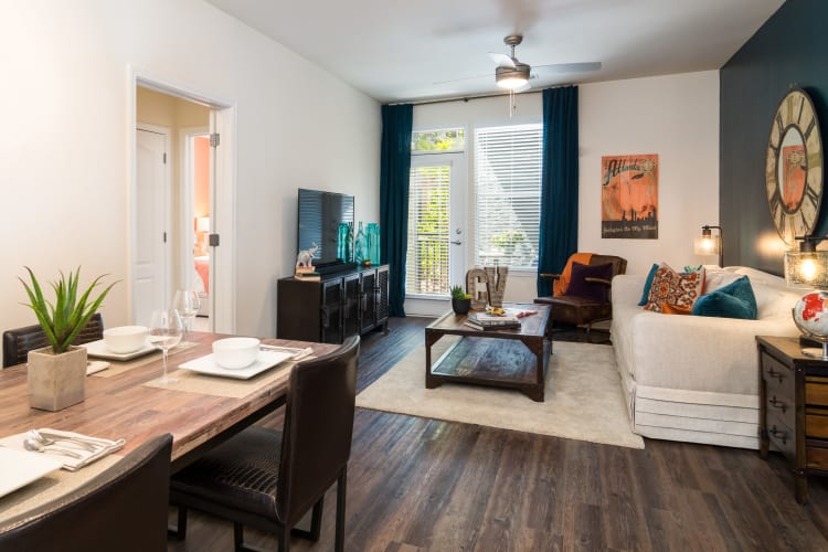 Spacious floor plans, some with wood-style flooring, at City View in Atlanta, Georgia.