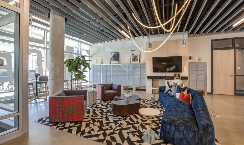 Modern lobby with comfortable seating at RiDE at RiNo in Denver, Colorado