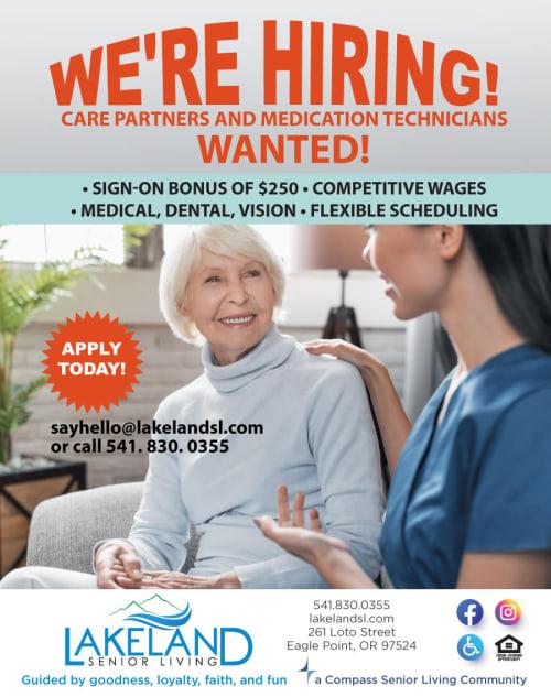 we're hiring at Lakeland Senior Living