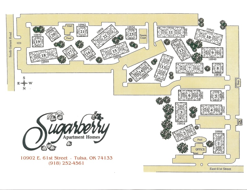 Site map for Sugarberry Apartments in Tulsa, Oklahoma