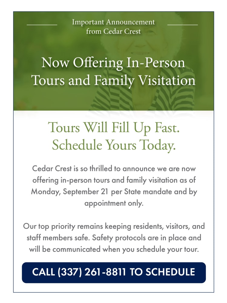 Now offering in-person tours and family visitation at Cedar Crest Memory Care