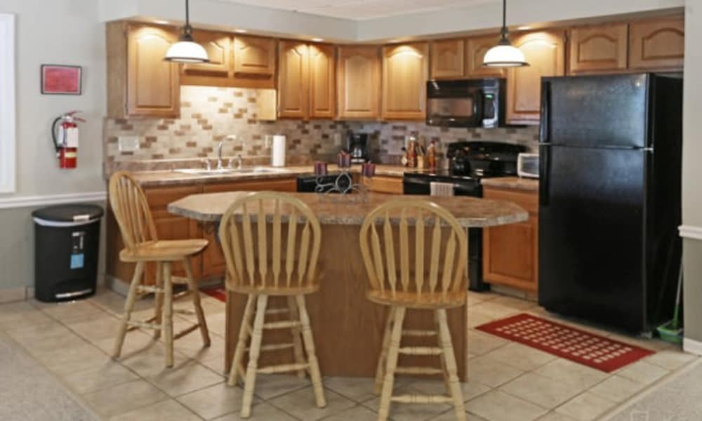 Clubhouse kitchen at Westminster Place Apartments in Liverpool, NY