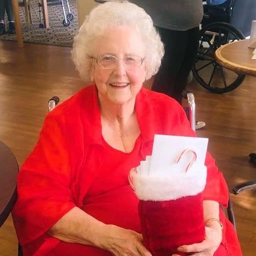 Resident with a stocking at Ashbrook Village in Duncan, Oklahoma