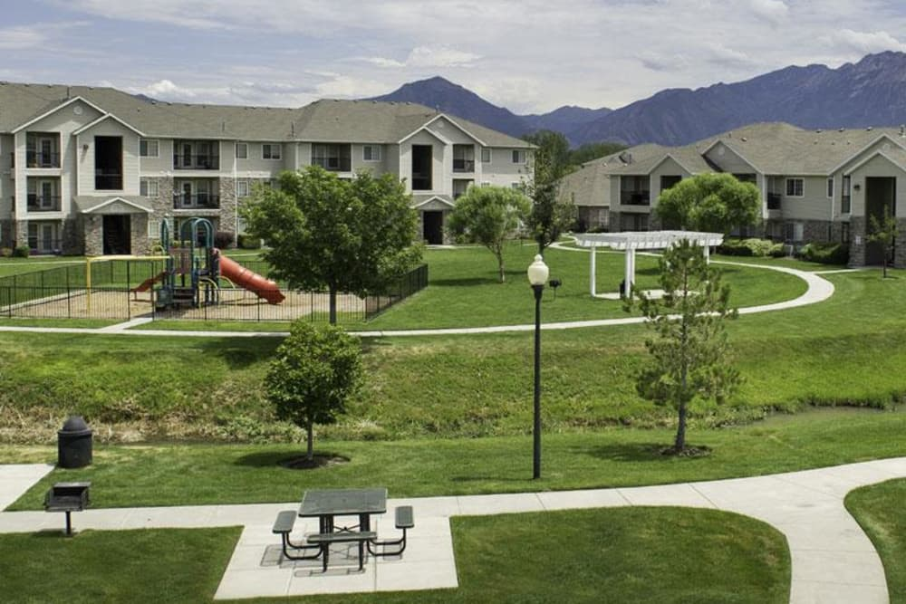 Greens outside Fairstone at Riverview Apartments in Taylorsville, Utah
