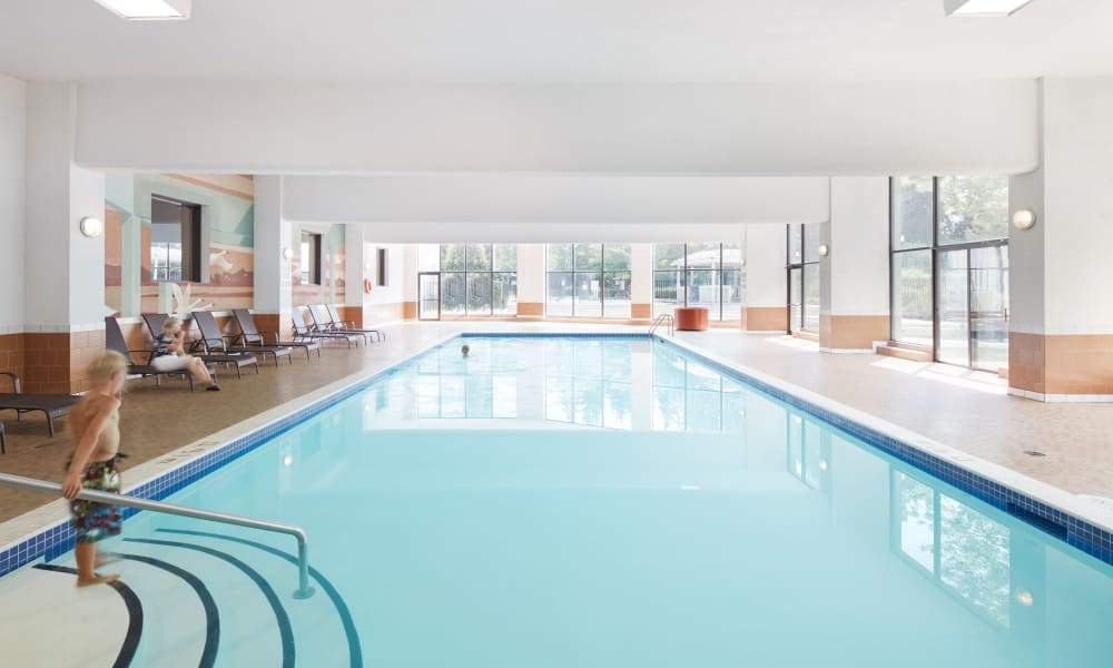 Glorious indoor swimming pool at 10 Lisa in Brampton, Ontario