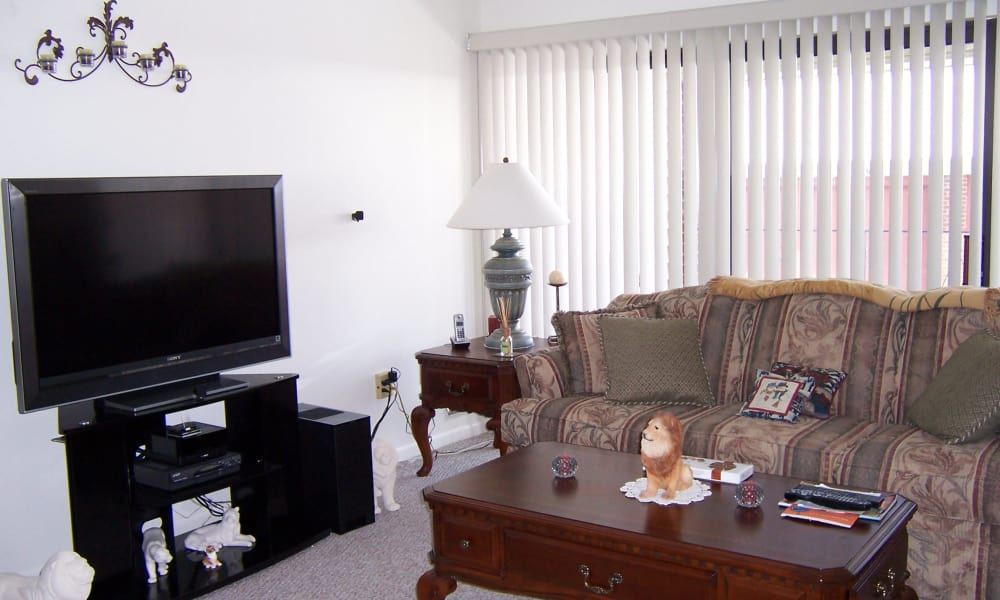 Carriage Hill Apartments offers a naturally well-lit living room in Pittsford, NY