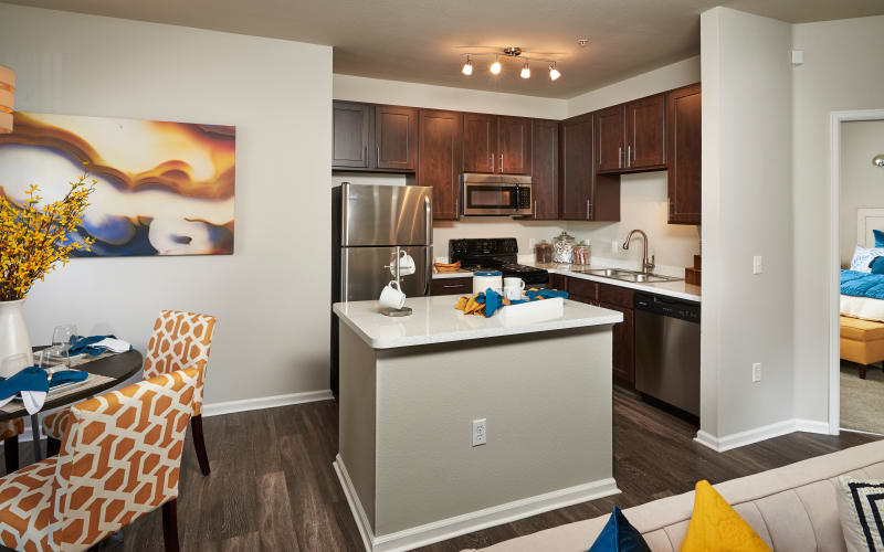Renovated kitchen with stainless-steel appliances at Bear Valley Park in Denver, Colorado