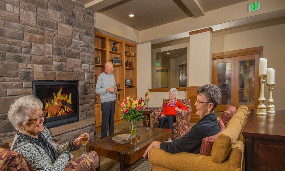 Seniors gathered in one of the lounges at Quail Park of Lynnwood in Lynnwood, Washington