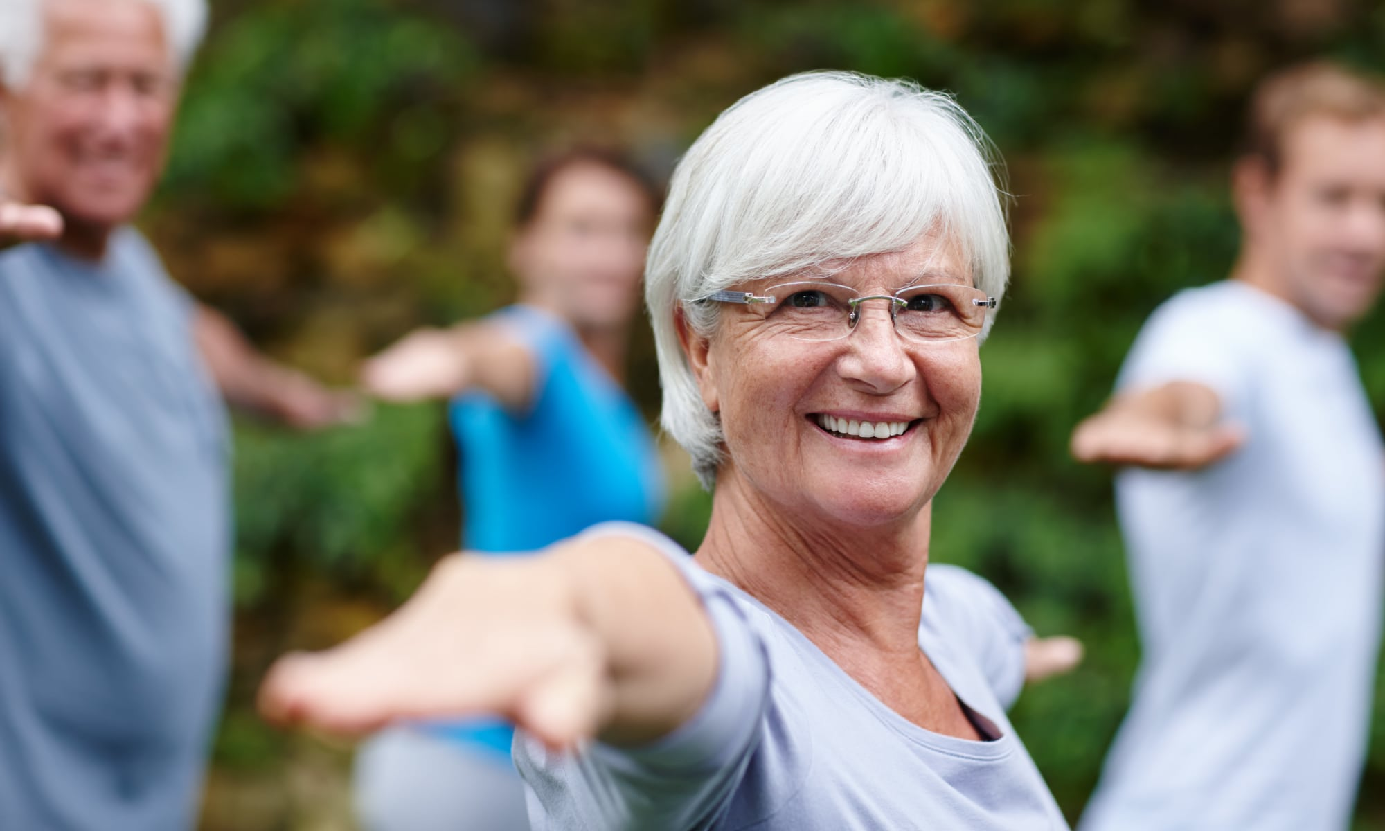 Residents group exercising outdoors