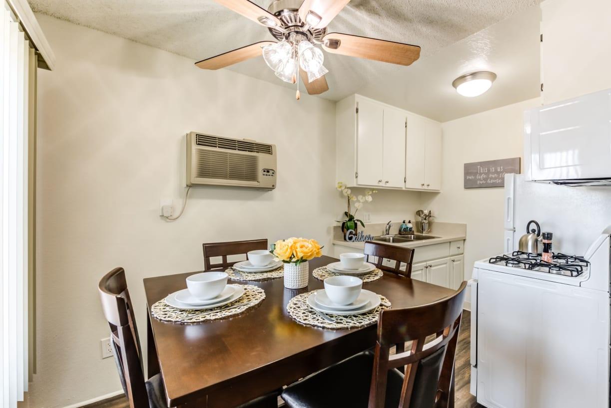 Bright and cheery kitchen and dining room at The Newporter in Tarzana, California