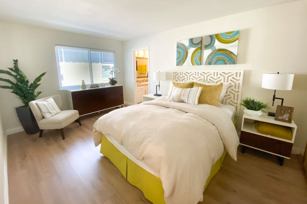 Bright, cozy bedroom at Greendale Apartments in Mountain View, California