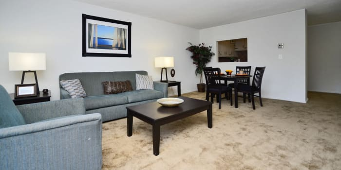 Model living room at Towers of Windsor Park Apartment Homes in Cherry Hill, NJ