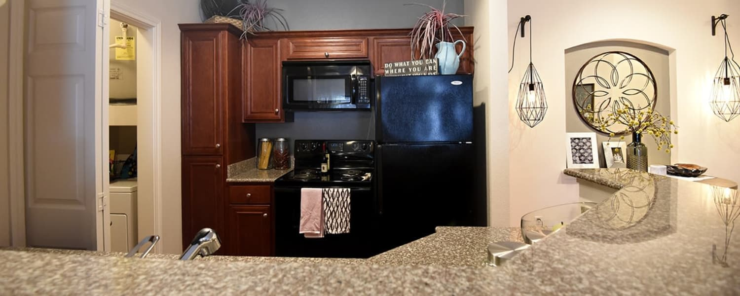 Fully equipped kitchen at Augusta Meadows in Tomball, Texas