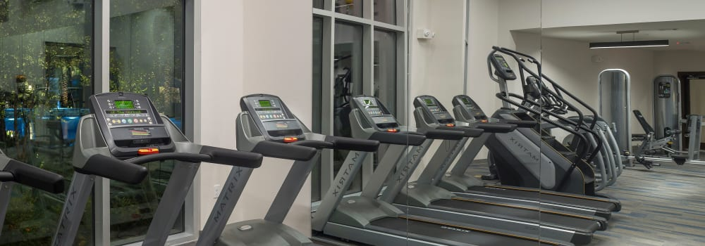 A fitness center with plenty of treadmills at Greenhouse in Houston, Texas