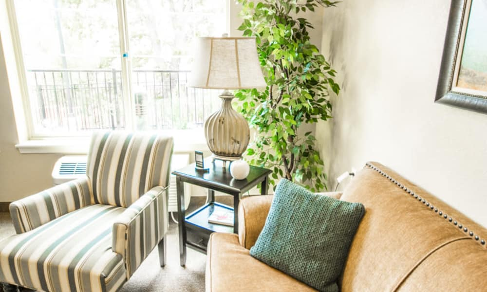 Cozy living room seating at Almond Heights in Orangevale, California