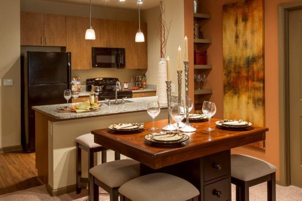 Spacious kitchen in model apartment home at The Addison at South Tryon in Charlotte, North Carolina