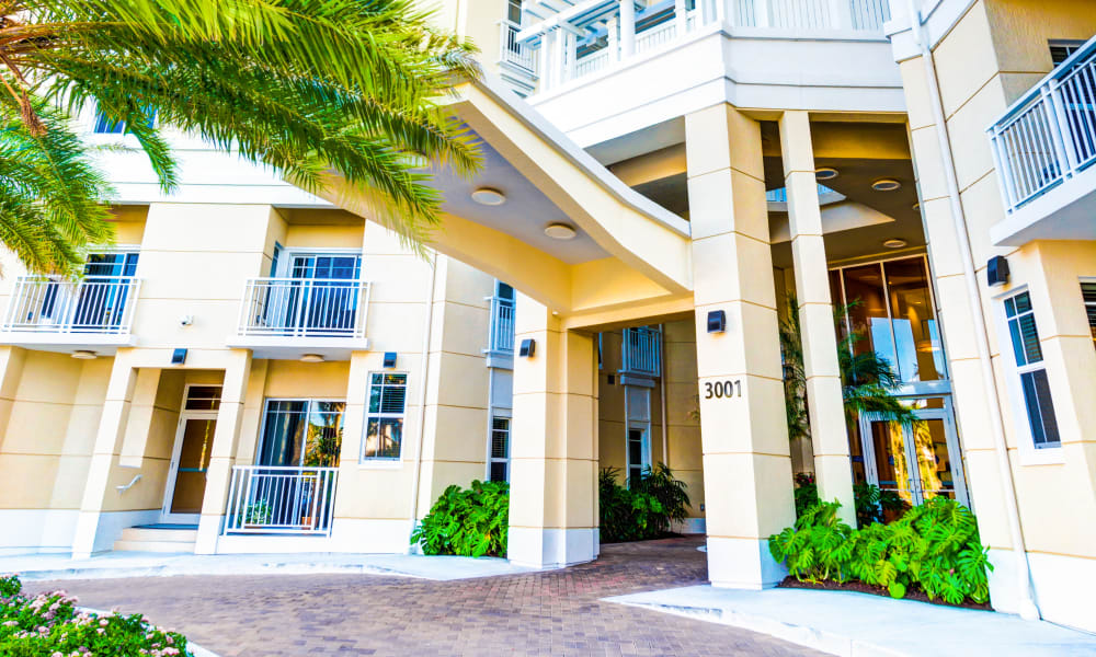 Exterior view of the ornate entrance to The Meridian at Waterways in Fort Lauderdale, Florida