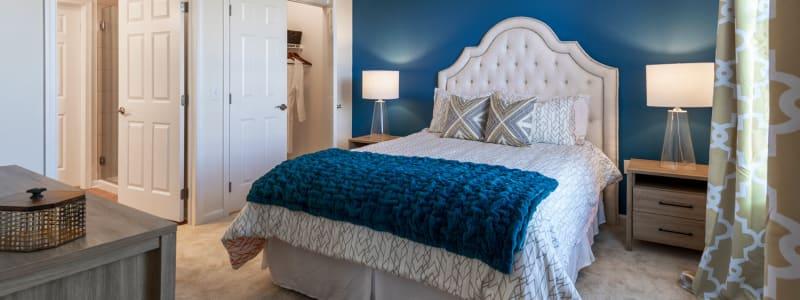 Bright master bedroom at The Royal Athena in Bala Cynwyd, Pennsylvania