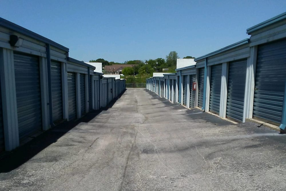 A large driveway with outdoor storage units at Store It All Self Storage - Judson in San Antonio, Texas