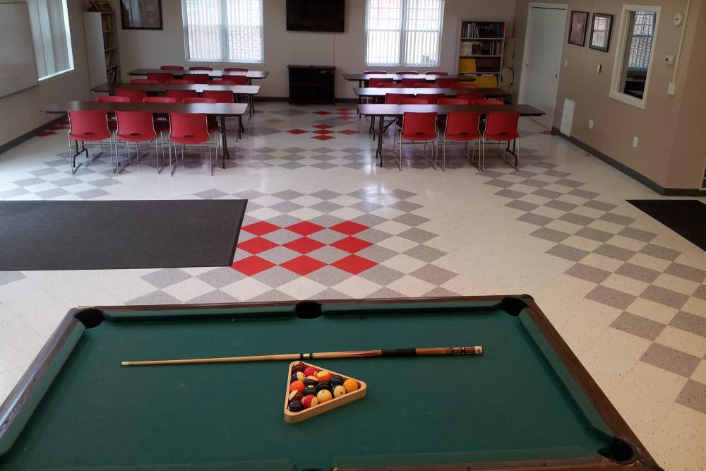 Billiards table at Davis Commons in Brockton, Massachusetts