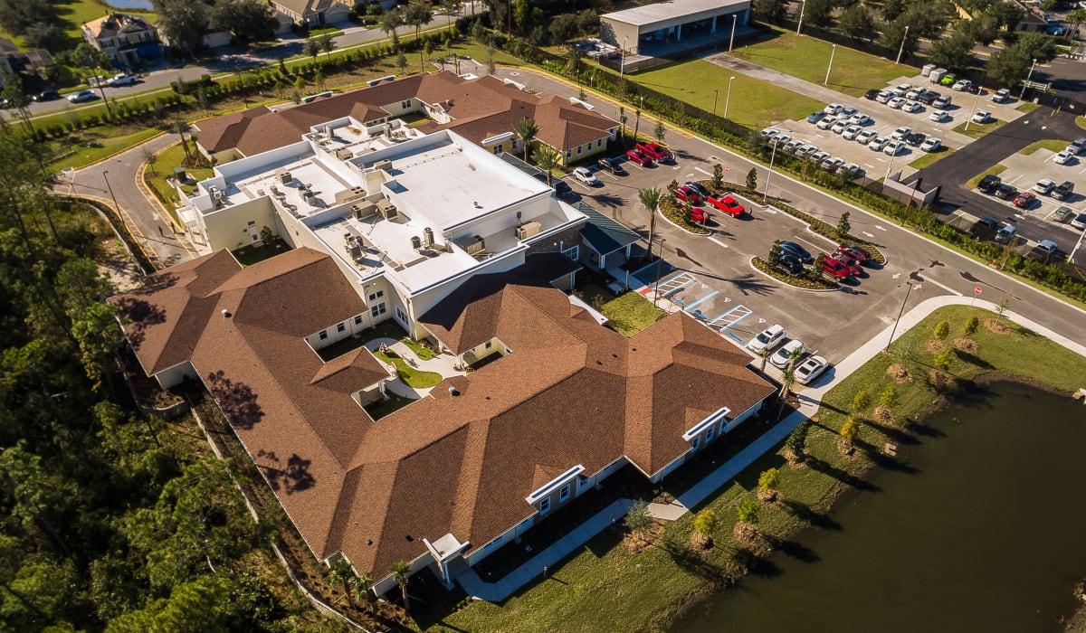 Aerial view of a CERTUS Premier Memory Care Living community.