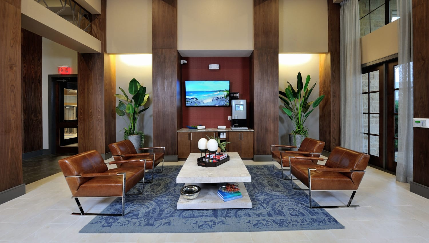 Comfortable lounge seating at Olympus Falcon Landing in Katy, Texas