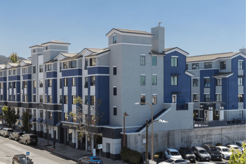 Exterior view of our luxury community at K Street Flats Apartment Homes in Berkeley, California